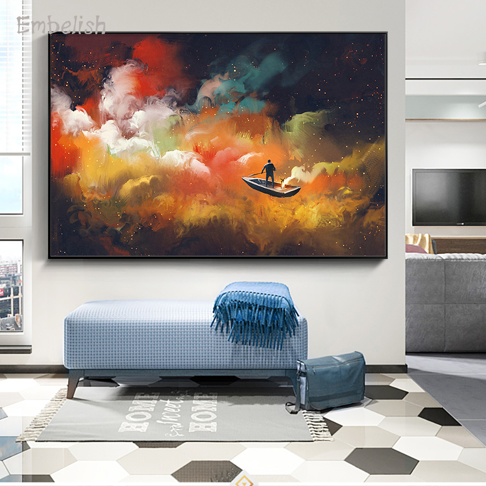 Embelish 1 Pieces Canvas Paintings Home Decor Man On A Boat In The Outer Space Wall Pictures For Living Room Home Decor Posters(China)