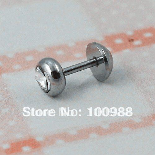 Free Shipping 20pcs/lot Fasion Steel Ear Plug Body Jewelry Rhinestone Piercing Men Earrings Stud BJ0073