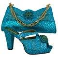 Итальянская обувь и сумки, чтобы соответствующие нагнетает ботинки свадьба каблуки синий африканские женская обувь и сумки набор с стразами! MVB1-4
