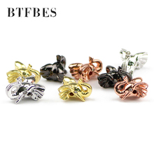 BTFBES 4pcs Gold Elephant Head Copper product Beads White Zircon Pendants accessories For Jewelry bracelet making DIY hand