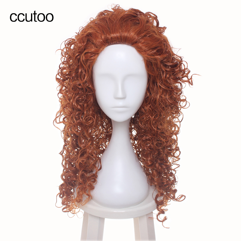 ccutoo 70cm Wavy Orange Merida Long Females Party Synthetic Hair Cosplay Full Wigs Perucas Heat Resistance Fiber