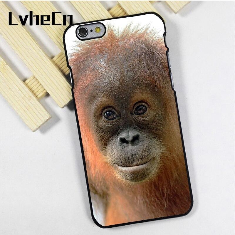 LvheCn phone case cover fit for iPhone 4 4s 5 5s 5c SE 6 6s 7 8 plus X ipod touch 4 5 6 Cute Hairy Monkey Orangutan