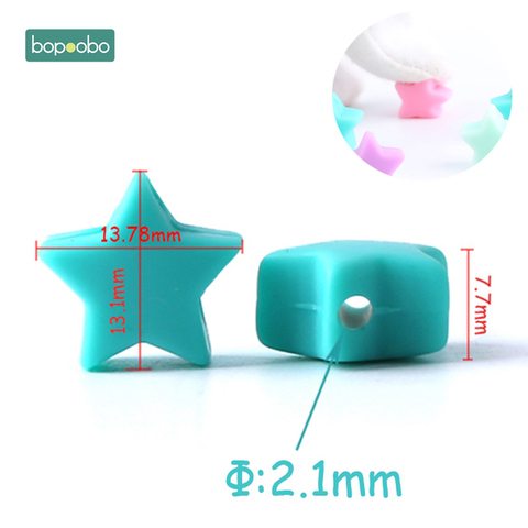 Bopoobo 10pcs Silicone Beads Food Grade Silicone Star Teether Baby Products Silicone Rodent Bracelet Diy Crafts Baby Teether Islamabad