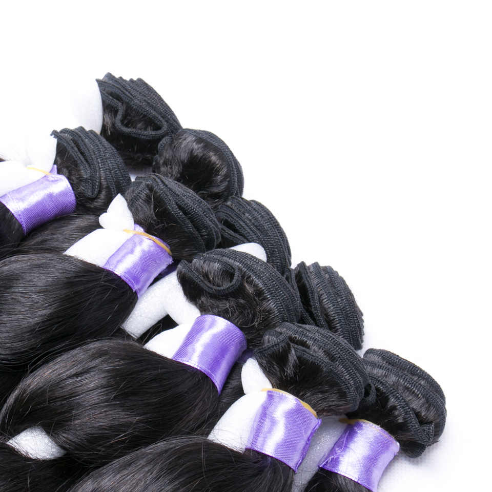 Chloe Peruaanse Losse Golf 4 Bundels 100% Human Hair Extensions Natuurlijke Haar Weave Bundels 8-30 inch Remy Haar natuurlijke Zwarte