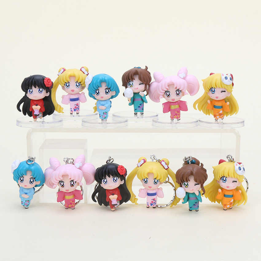 6pcs/set Anime Sailor Moon figure toys Tsukino Usagi Neptune Pluto Saturn Chibi moon PVC model Action Figures Toys kids gift