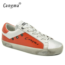 CANGMA Original Ladies Casual Shoes Autumn Orange Silver Woman Bass Genuine Leather Flats Women Sneakers Chaussure De Luxe 2017