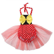 Summer Casual Kids Baby Girls Princess Straps Tutu Baby Romper Yellow Bow Birthday Sleeveless Dots Red Clothes(China)