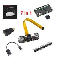 7 In 1 Raspberry Pi Zero Camera Holder Acrylic Case Heat Sink Mini HDMI Adapter GPIO