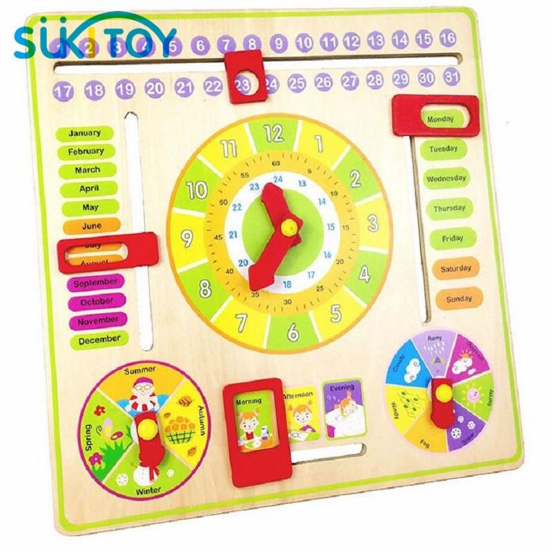 Horloge en bois Montessori Météo Saison Semaine Mois Bloc - Concepteurs et jouets de construction - Photo 2