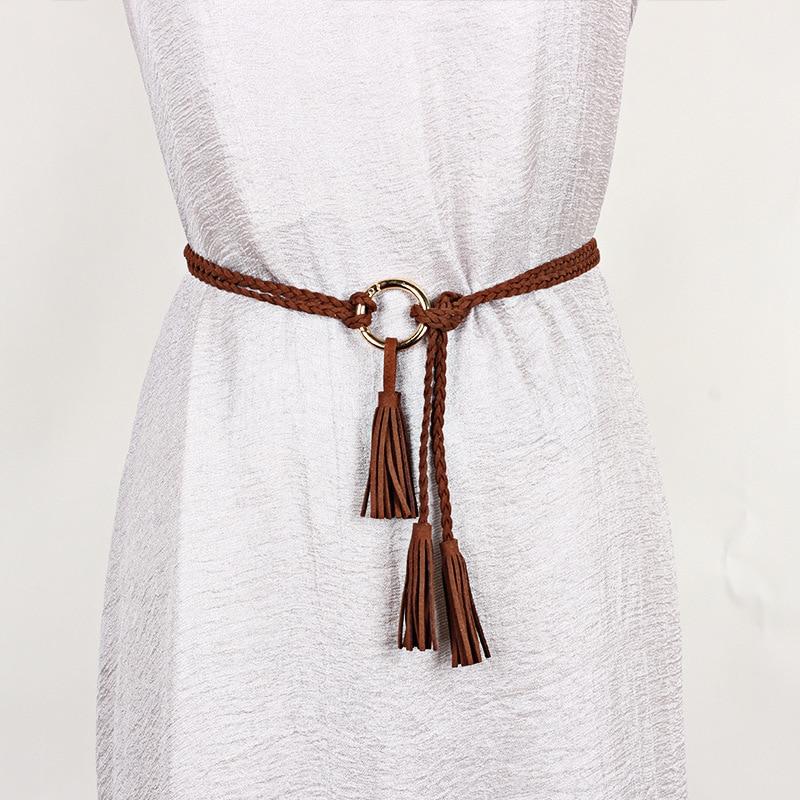 Casual Rope Women Belt Hand-Woven Braided Tassels Cummerbund Lady Waistband New