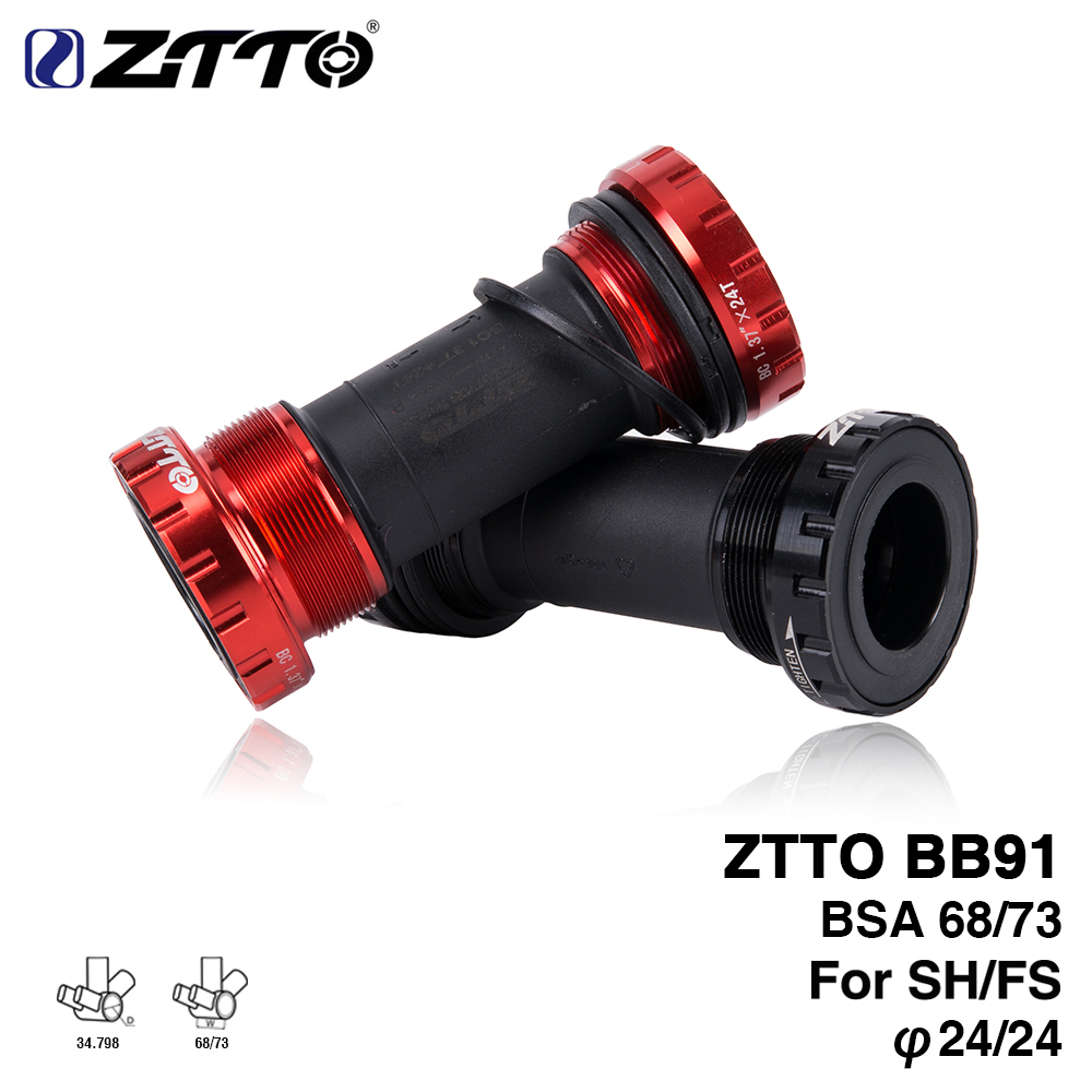 ZTTO BB91 External Bearing Bottom Brackets For Bicycle BSA68 68 73 Thread For Parts Prowheel 24mm Crankset Waterproof CNC MTB