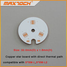 MAXTOCH Copper MCPCB 3pcs XM-L XM-L2 32mm x 1.6mm Direct Thermal Path Copper Board