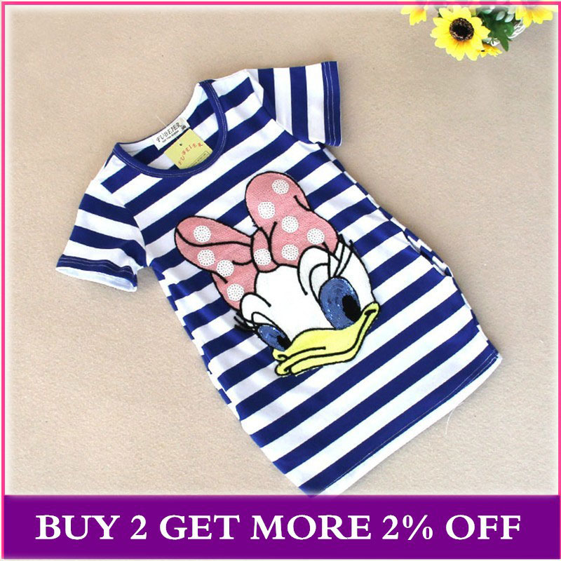 Girls Dress 2020 Summer New Girls Striped Cartoon Dress Cotton Short-sleeved Dress 2-6 Years Old Children's Clothing For Girls