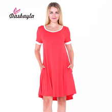 Dasbayla 2017 Summer Women's Casual short sleeve Tunic Dress White cuffs and collars O-Neck A-Line Dress long Tshirt Loose fit