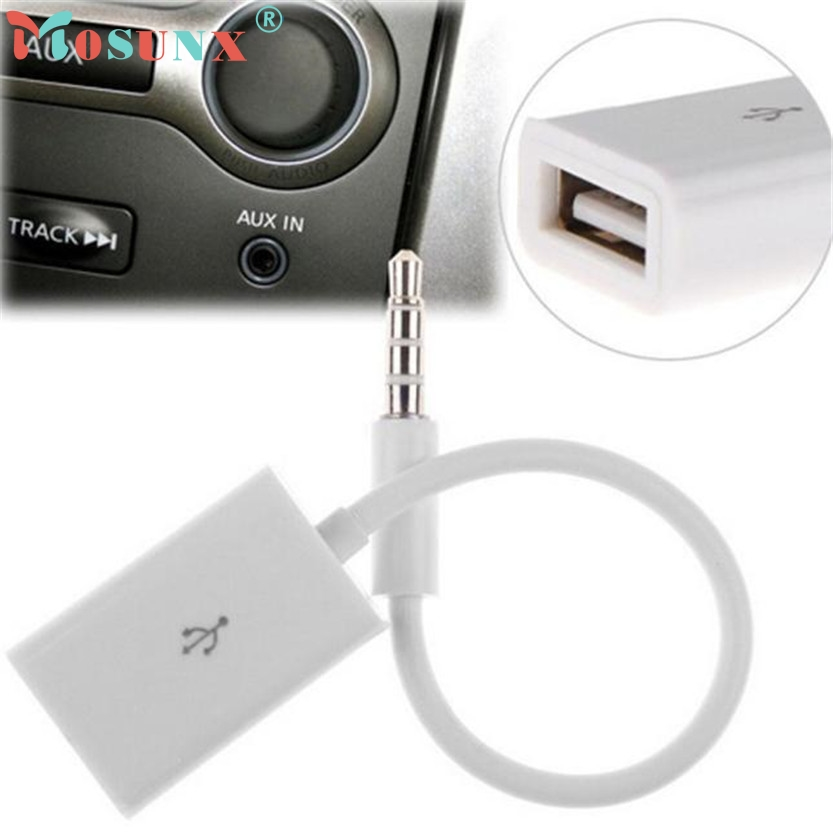 U 3.5mm Male AUX Audio Plug Jack To USB 2.0 Female Converter Cable Cord Car MP3 N0224 12v usb female to 3 5mm plug car audio mp3 cable silver white 15cm
