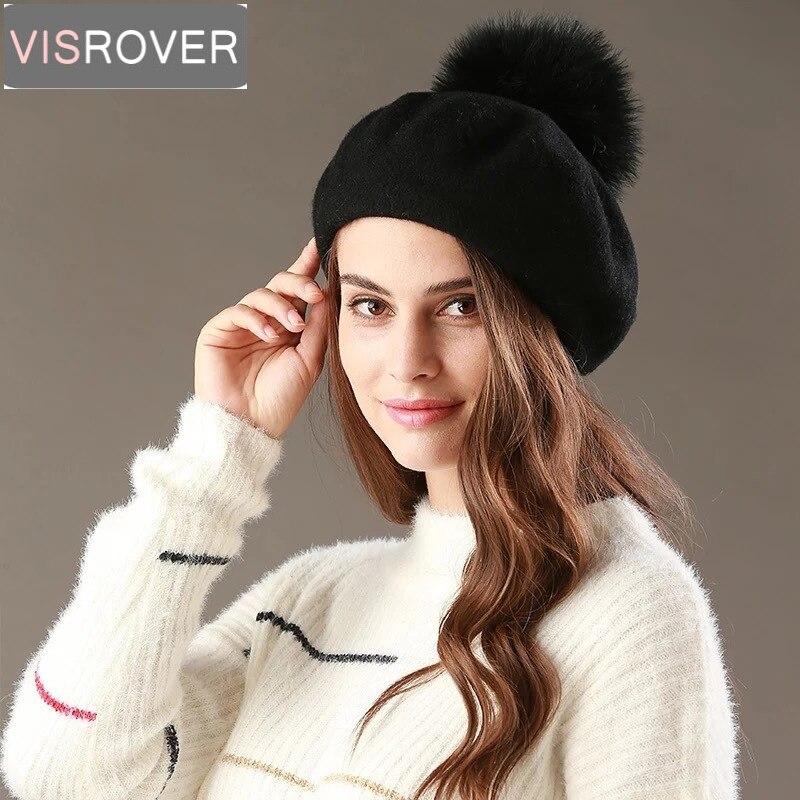 VISROVER novo chapéu boina feminina inverno chapéu para as mulheres cap pompom  chapéu de pele falsa a1f347f5f97
