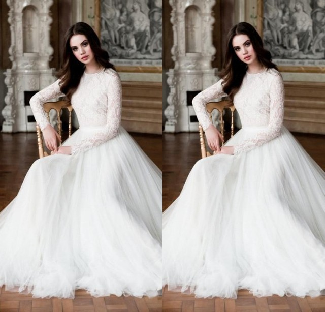 Elegant Long Sleeve Wedding Dresses Muslim Dress 2015: Modest Muslim Wedding Dresses 2017 New Arrivals Lace Long