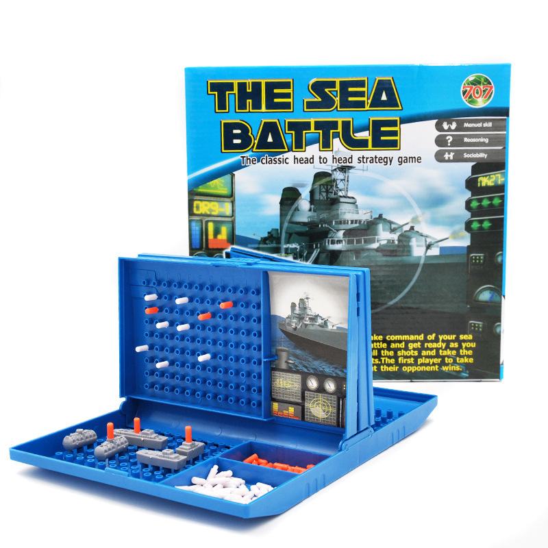 Sea Battle Game Ships Strategy Board Game for 2 Players Childrens Puzzle Desktop Game Toy Family Party Parent-child Interaction