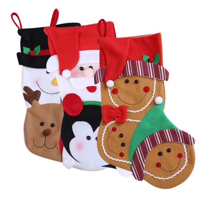 christmas big cute cartoon stocking christmas gift bag lovely santa claus snowman stocks hanging christmas tree - Big Stockings For Christmas