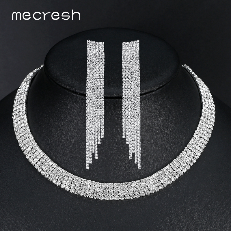 Mecresh Elegant Tassel Crystal Bride Jewelry Sets Gorgeous Silver Color  Wedding Party Necklace Earrings Sets EH424 220695869ab8