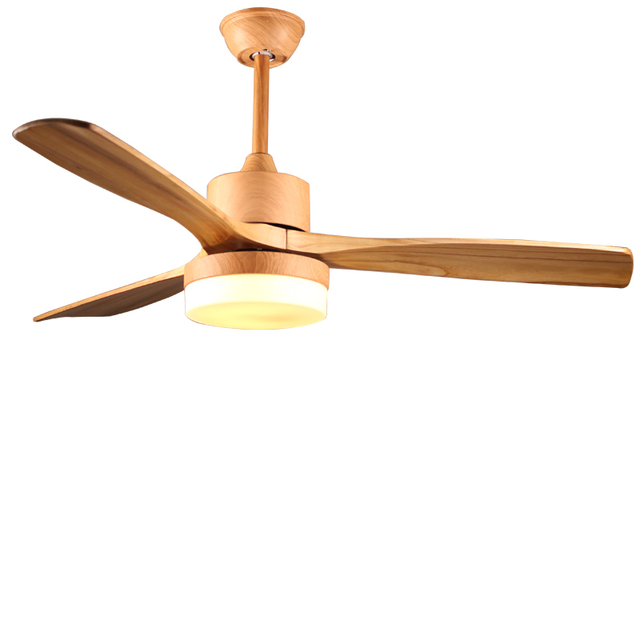 Nordic Antique ceiling fan light fan light with remote control minimalism modern fan style LED lamp solid 3 wooden blades