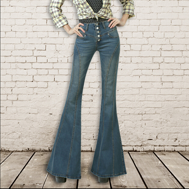 Vintage Woman High Waist Buttons Slim Denim Big Flared Jeans Female Fashion Boot Cut Bell Bottom Jeans Plus Size Trousers  2017 new plus size clothing spring bell bottom jeans female lengthen boot cut mid waist big horn denim trousers