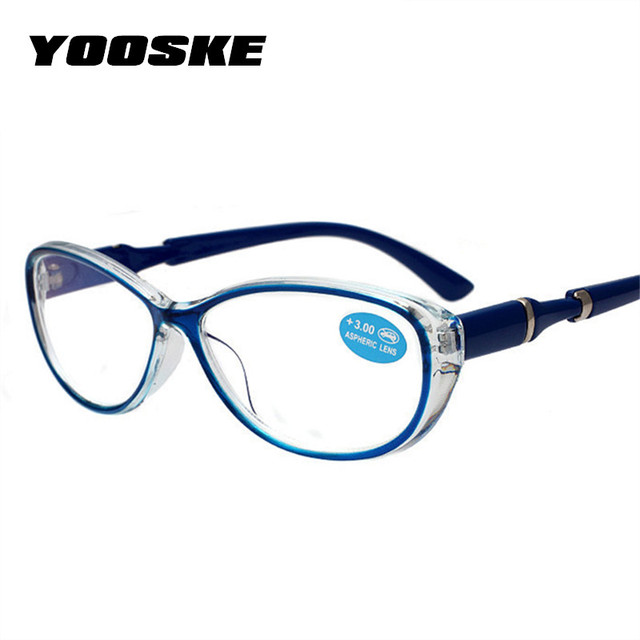 YOOSKE Cat Eye Reading Glasses Women Farsighted Eyeglasses Frame Ultralight Elegant Film Resin Hyperopia Old Light Glasses 2.5