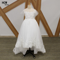 High Low White First Communion Dresses Short Sleeve Flowers Lace Tulle Long Little Girl Communion Dress