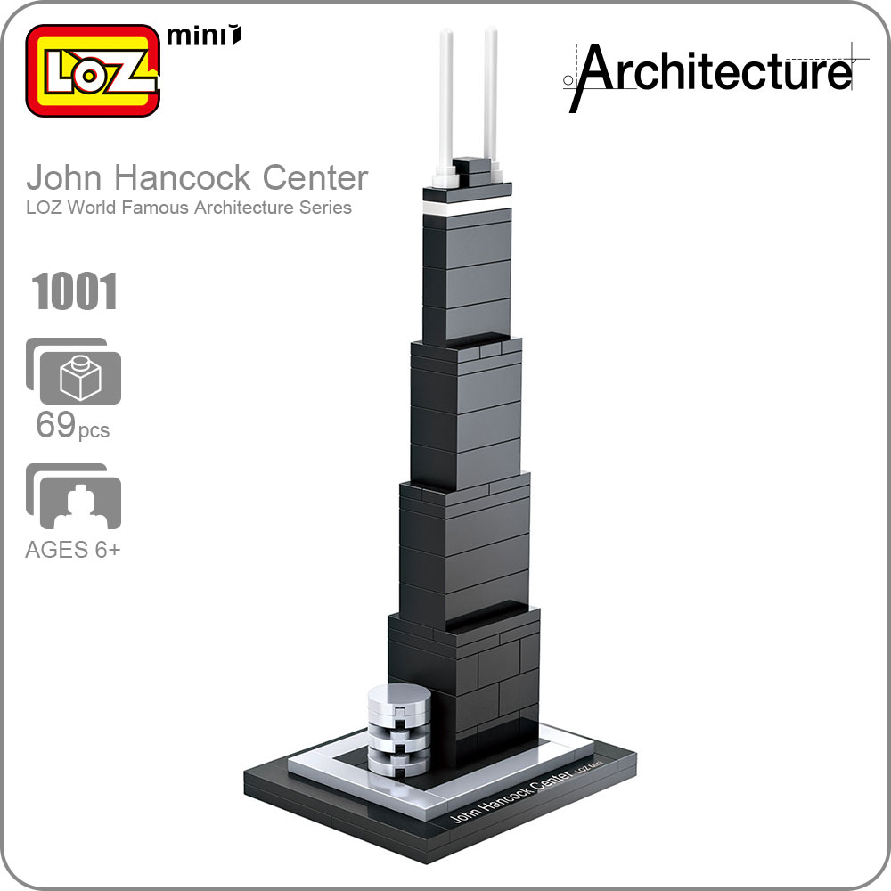 LOZ ideas Mini Block John Hancock Center World Famous Architecture Series United States Mini Plastic Building Blocks Toy 1001