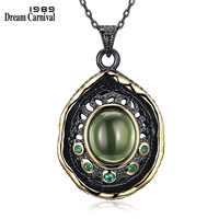 DreamCarnival 1989 Deluxe Gothic Pendant for Women Bijoux Chain Necklace Black Gold Color Green Tone Zirconia Drop Ship Discount