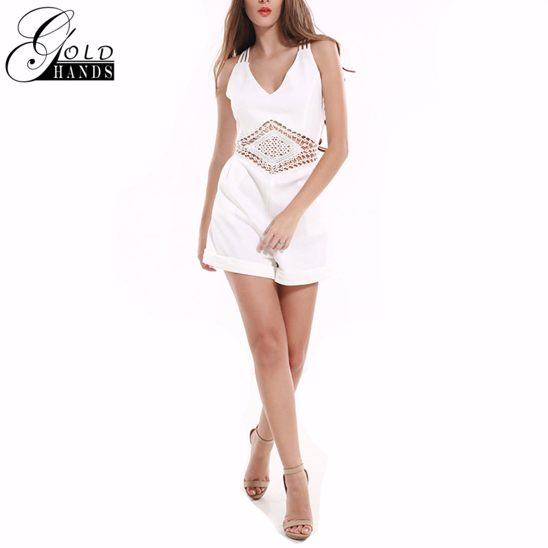 Gold Hands New Summer Sexy Women Beach Clothes Female Sleeveless Lace Hollow Out Deep V Neck White Backless Shorts Overall ...