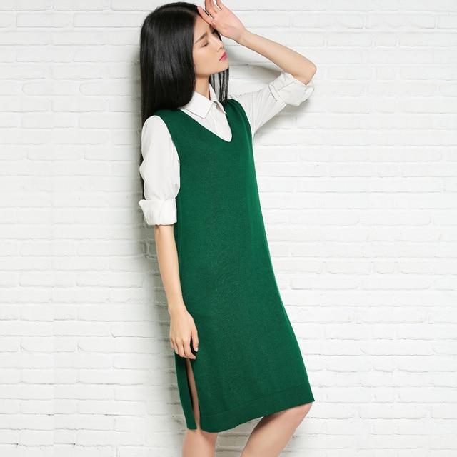 72e221a031b7 Women sweater dress medium-long pullover V-neck wool vest female sleeveless  sweater 2017 autumn and swinter one-piece dress