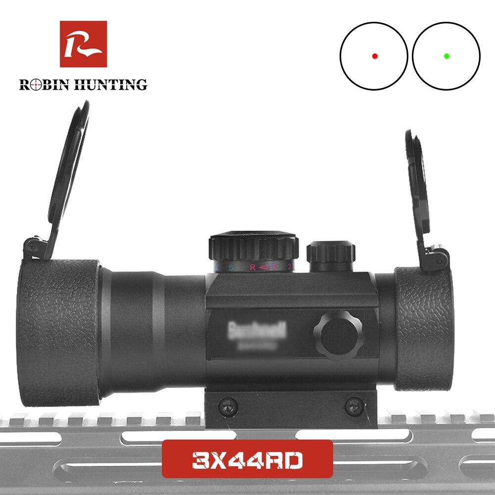 3x44RD Red Green Dot Sight Scope Optics Riflescope Fit 11/20 milímetros Dovetail Rail Para Airsoft Arma de Caça Ao Ar Livre vista vermelha do Ponto
