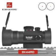 Оптический прицел 3x44RD с красными и зелеными точками, подходит для прицела мм, Рельс ласточкин хвост для охоты на открытом воздухе, страйкбольного ружья, прицел с красной точкой