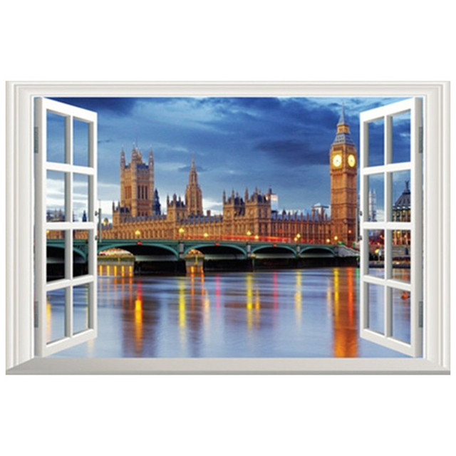 Seaside london style bell tower night scenery 3d fake window wall stickers home decoration living room