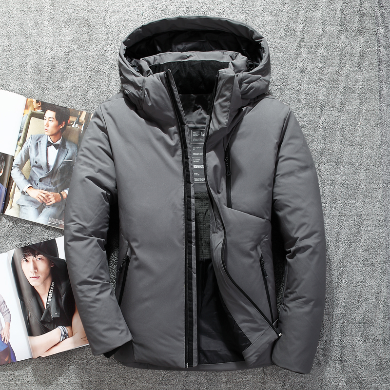 Giacche invernali per gli uomini cappello impermeabile giacche a vento da uomo caldo di spessore cappotto di inverno anatra bianca degli uomini giù
