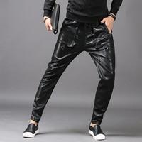 Men Low cut Leather Pants Pu Leather 2018 Autumn and Winter New Men's Slim Feet Harem Pants Hip hop Men Pants Hip Hop Streetwear