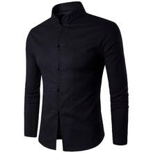 قميص بتصميم تقليدي صيني جديد للرجال بلون سادة وياقة على شكل اليوسفي بأكمام طويلة من القطن والكتان