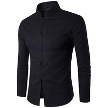 Camisa masculina estilo tradição chinesa, camisa de cor sólida, gola mandarim, manga comprida, de linho e algodão, casual