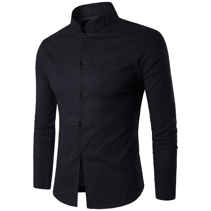 חולצת גברים סינית מסורת סגנון 2017 חדש להגיע זכר מלא צבע מנדרין צווארון עסקים שרוול ארוך חולצה מקרית פשתן