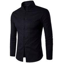 Nueva llegada camisa de estilo tradicional chino para hombre camisas de cuello Mandarín de Color sólido de algodón de manga larga camisa Casual de lino