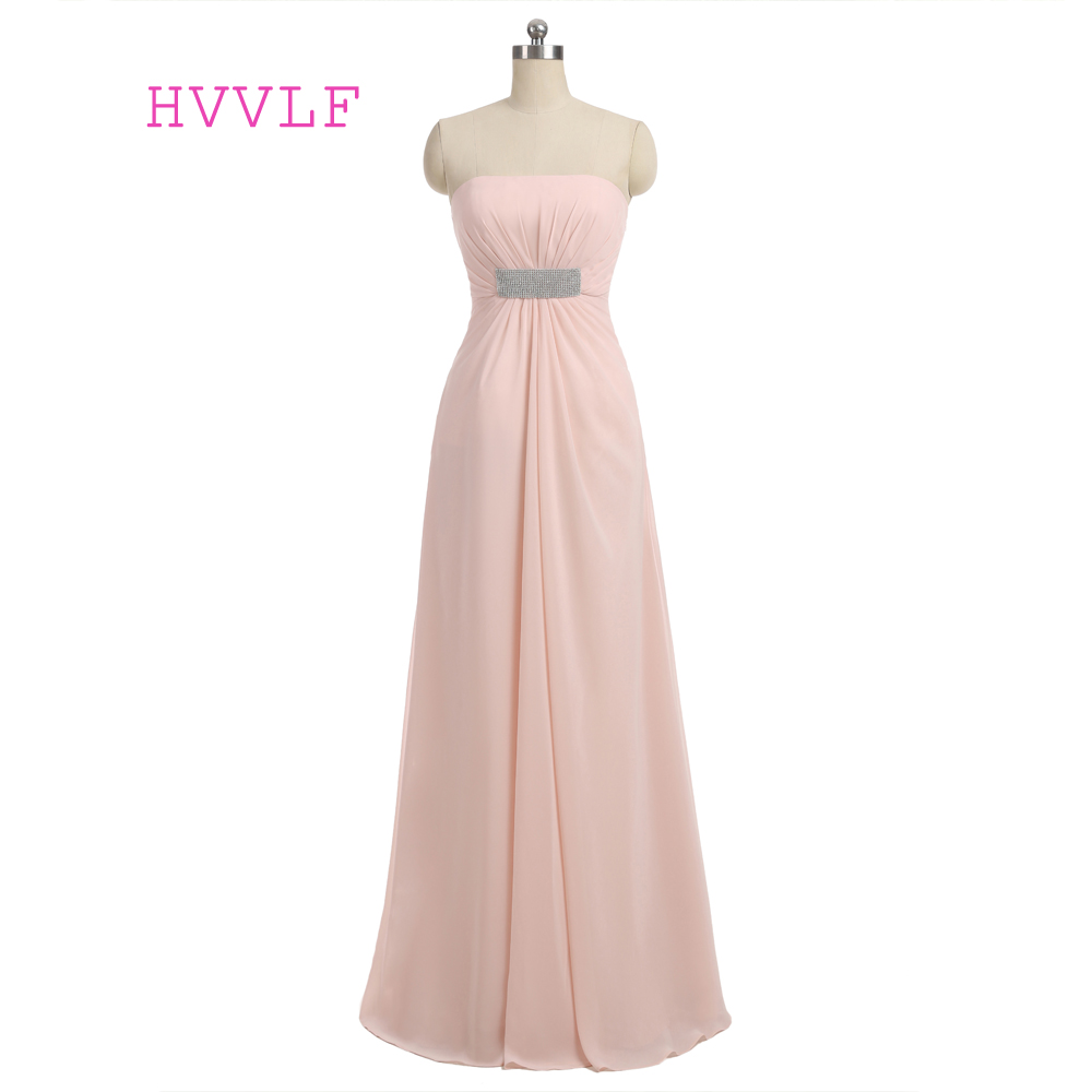 Pink 2019 Cheap Bridesmaid Dresses Under 50 A-line Strapless Floor Length Chiffon Backless Long Wedding Party Dresses