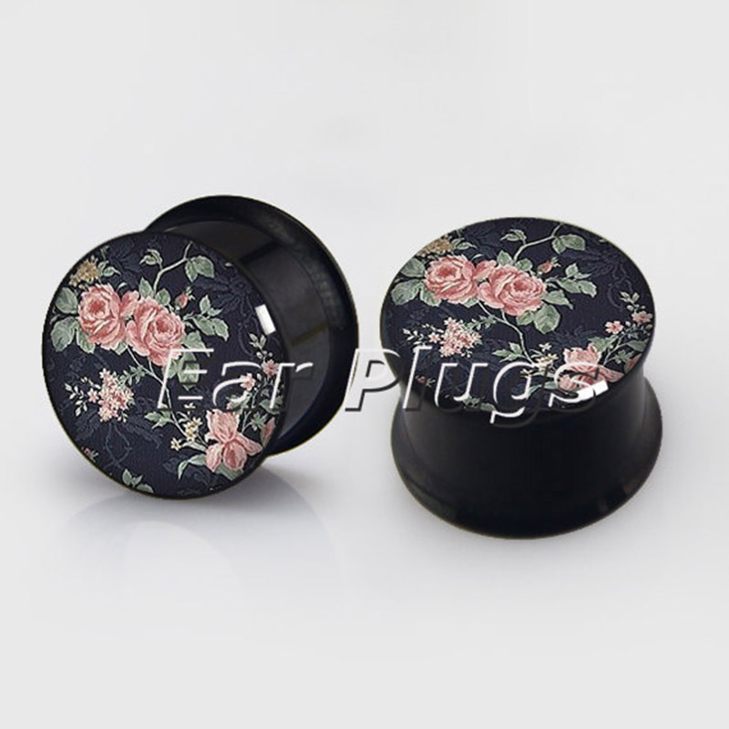 1 pair Floral plugs anodized black ear plug gauges steel flesh tunnel body piercing jewelry 2 pieces