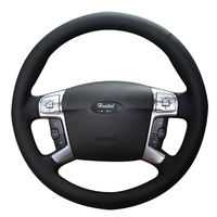Heated Car Steering Wheel Cover for Ford Mondeo Mk4 2007 2012 S Max 2 car styling Microfiber leather Braid on the steering wheel