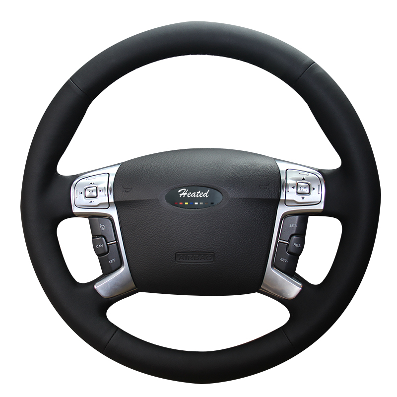 Heated Car Steering Wheel Cover for Ford Mondeo Mk4 2007-2012 S-Max 2 car styling Microfiber leather Braid on the steering wheel