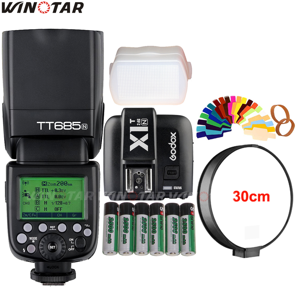Godox TT685 TT685N 2.4G Wireless HSS 1/8000s i-TTL Flash Speedlite + X1T-N Trigger + 6x 2500mAh Battery for Nikon DSLR Cameras godox v860iic v860iin v860iis x1t c x1t n x1t s hss 1 8000s gn60 ttl flash speedlite 2 4g transmission godox softbox filter