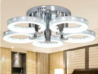 Silver LED  18W Acrylic Ceiling Light with 5 lights  Chrome Finish)Size:73*73*20CM  85-265V