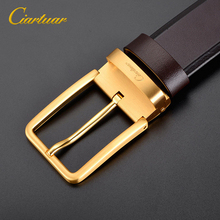 2019 new design high quality suit men belt genuine leather strap trousers first layer ciartuar brass pin buckle free shipping