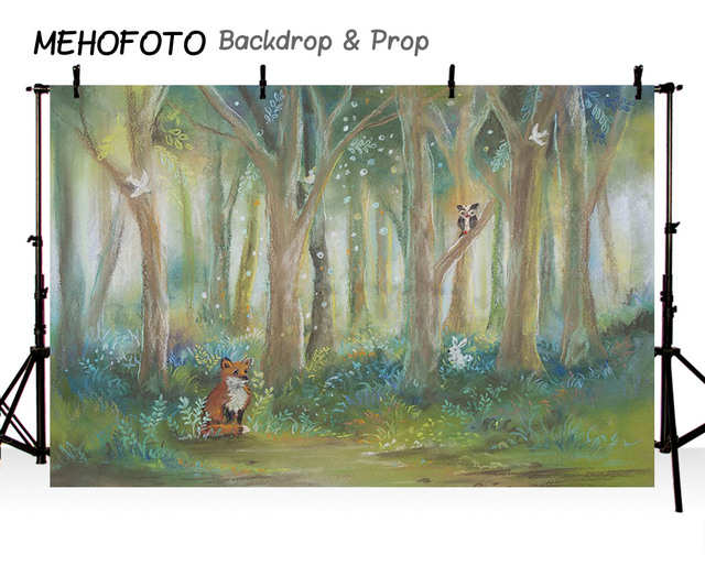 MEHOFOTO Birthday Backdrop Photography Rustic Oil Forest Animals Fox Jungle Theme Children Background Customize Photocall