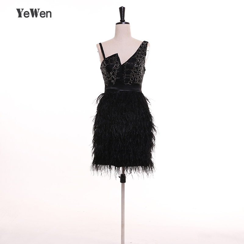 YeWen beads V neck Spaghetti Strap   Cocktail     Dresses   2018 Black Ostrich feathers Short Wedding Party Prom   Dress   robe de soiree